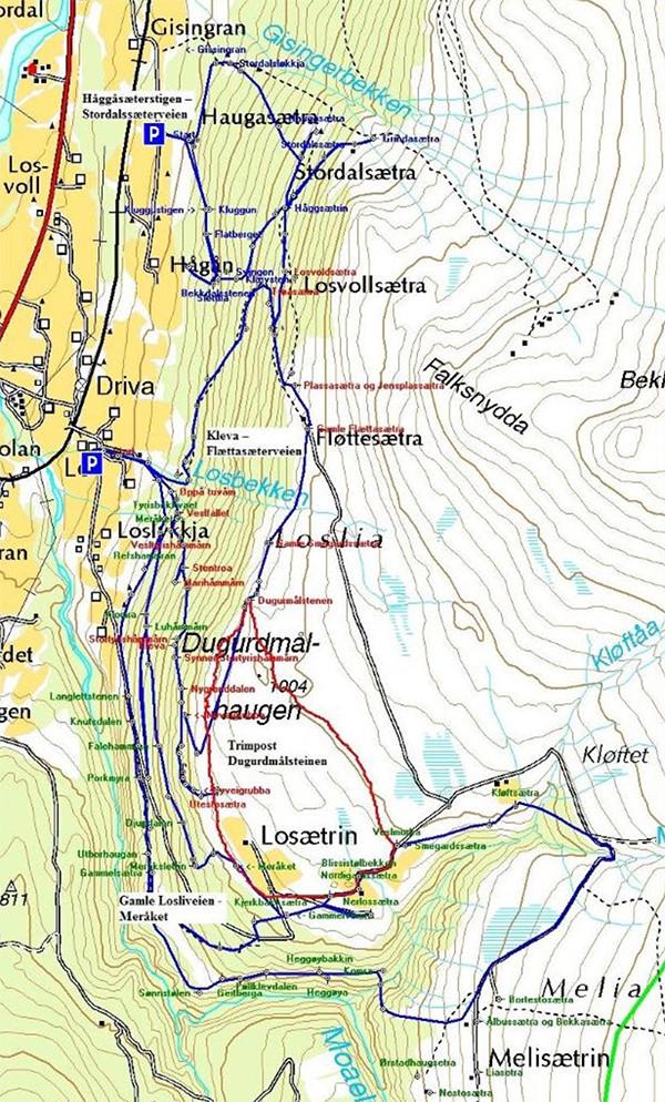 Blå linje – sæterstiger i Loslia. Rød linje – merking til trimpost på Dugurdmålsteinen.
