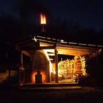 wood fire kiln at night