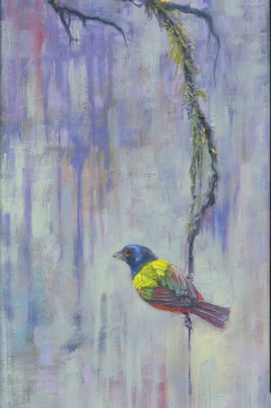 Mossy Perch Painted Bunting, Artist Dianne Munkittrick