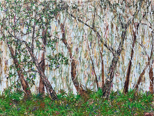 """Magnolia Tree in Live Oak Forest, 30 x 40"""" Collage"""