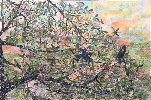 """Red-Wing Blackbirds, 48 x 72"""" Collage"""