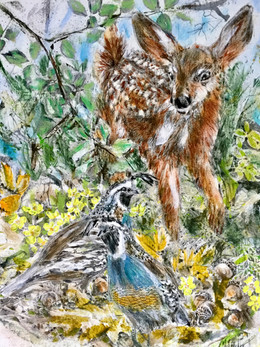 Fawn with Easter Grouse