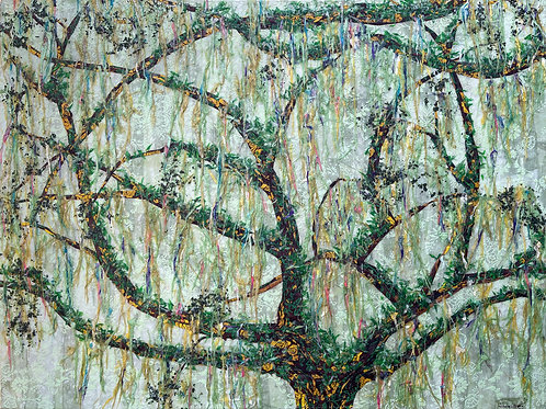 """Resurrection Fern and Live Oak, 30 x 40"""" Collage"""
