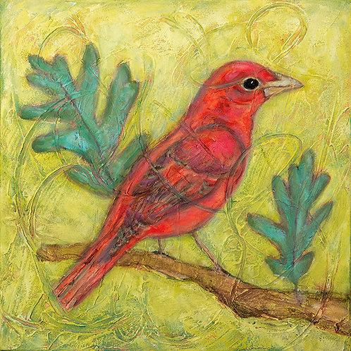 Summer Tanager on Oak Tree, Artist Martha Worthy