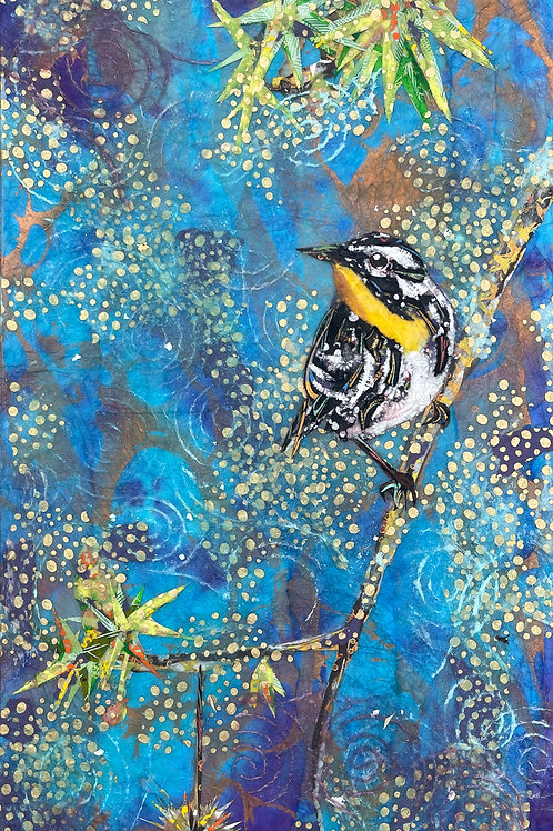 """Yellow-Thoated Warbler in Sweetgum Tree, 10 x 20""""Collage"""