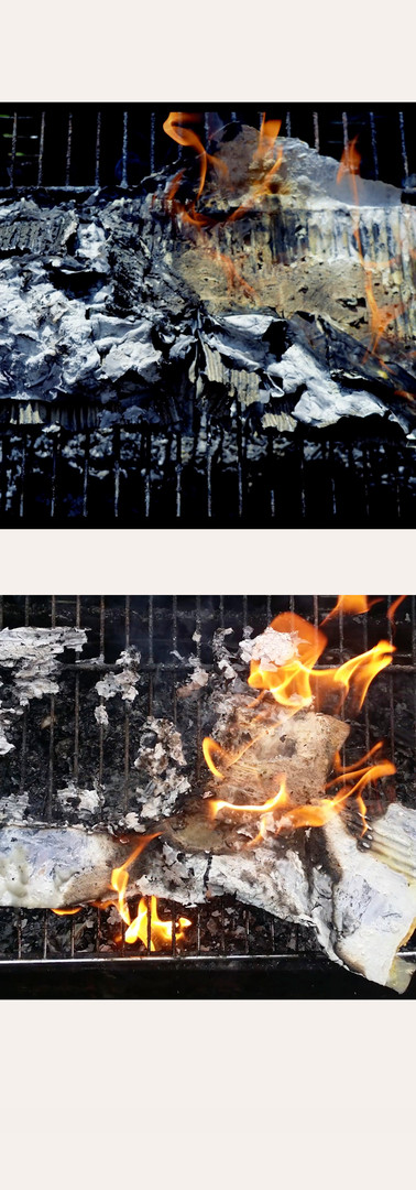 A-Level Art Final Project - Time-lapse stills of burning facade representations of derelict spaces in London.  Medium: Burning, Plaster, Card, Photography
