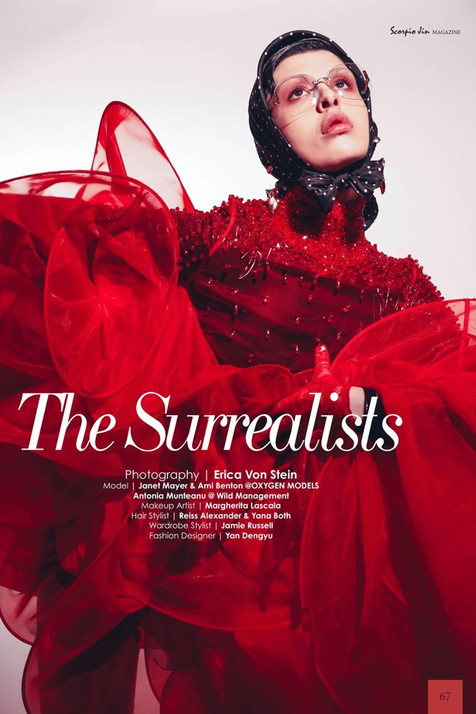 Editorial - 'The Surrealists' Scorpio Jin Magazine  Photographer: Erica Von Stein MUA: Margherita Lascala Hair Stylist: Russie Miessi Hair Stylist: Reiss Alexander Designer: Yan Dengyu Stylist: Jamie Russell