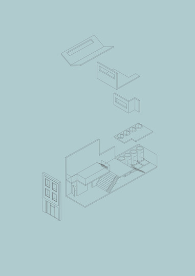 Y2 Architecture Project 1 - Final Axonometric of Wellbeing Centre for Chatsworth Road, Hackney