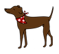 Maggie's dog walking and animal care logo chocolate labrador