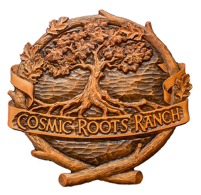 Cosmic Roots Ranch Logo - Grass Valley, California - Real Wood Logo