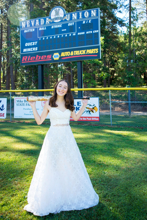Prom Dress on Baseball Field portrait ideas