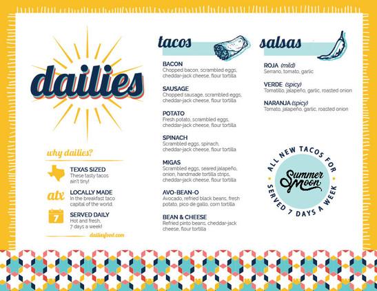 Dailies printed menu