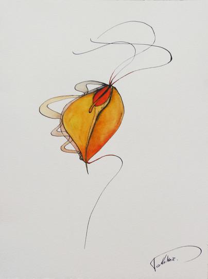 dessin sur papier encre de chine et aquarelle