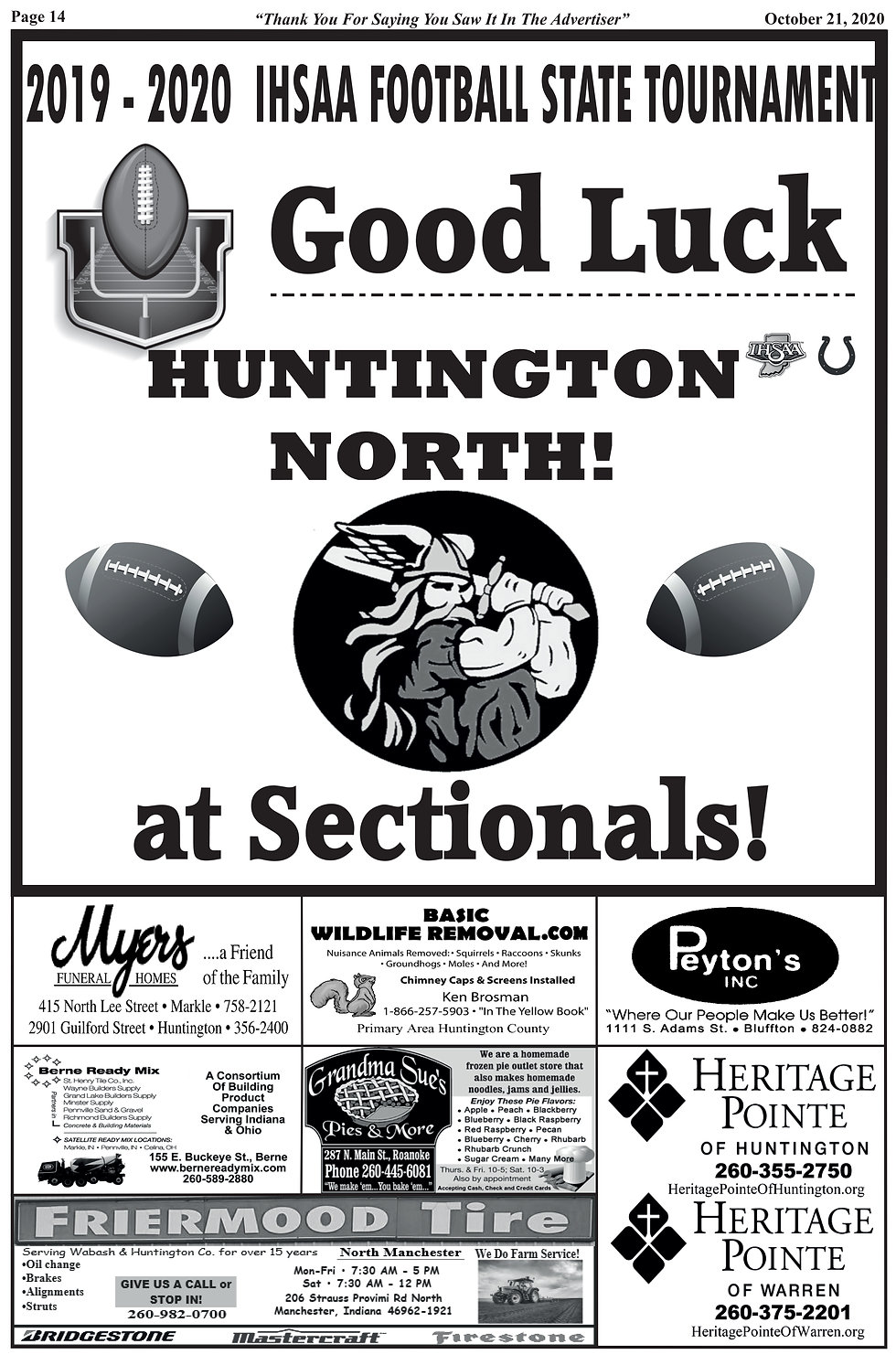 Huntington County Football Sectionals