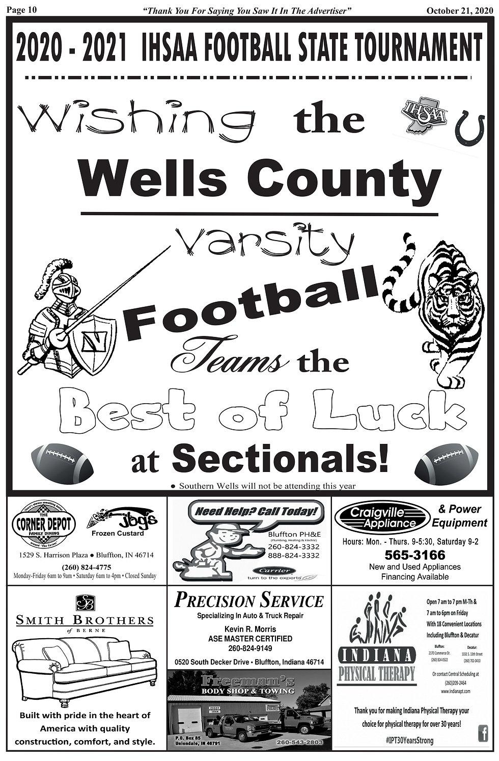 Wells County Football Sectionals