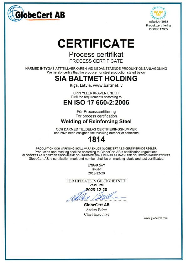 Prefabricated welded cages certificate