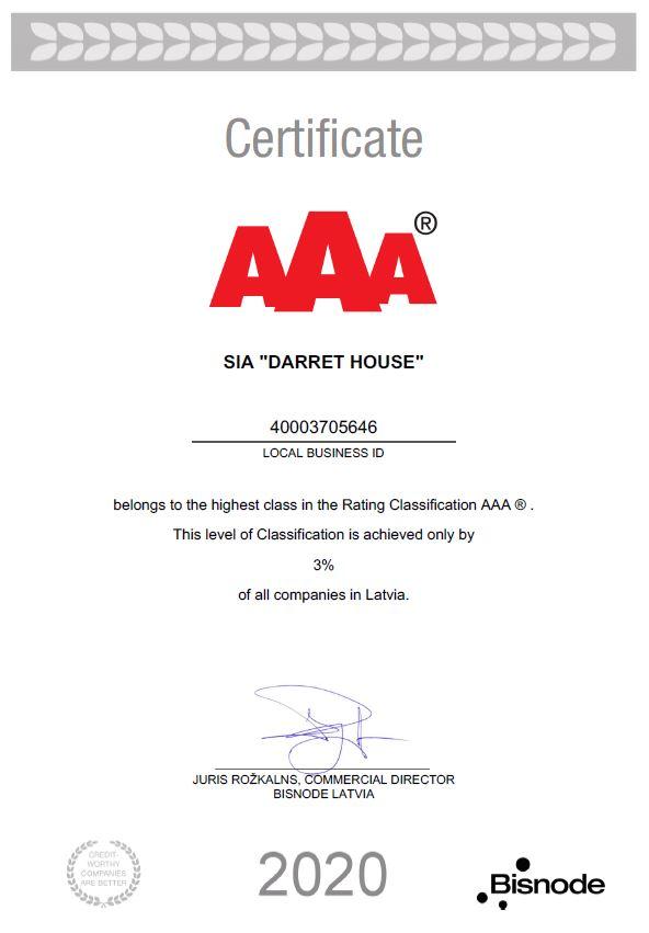AAA awarded certificate