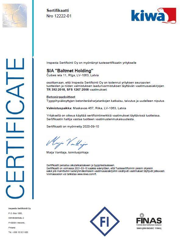 Finnish cutting/bending certificate