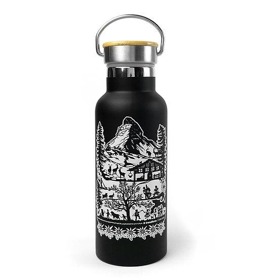 Trinkflasche SWISS TRADITION schwarz oder silber 500 ml