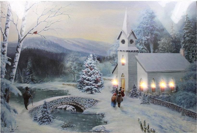 Bild Kirche Led+Timer 60x40cm