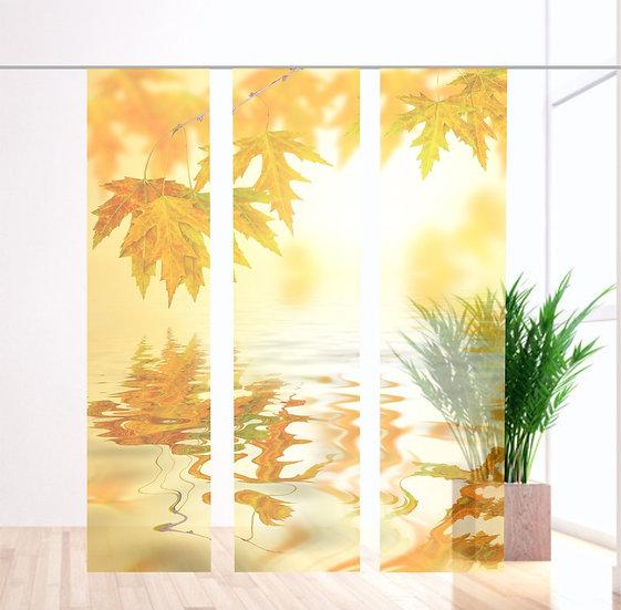 """Flächenvorhang transparent """" Goldener Herbst """" 3Set"""