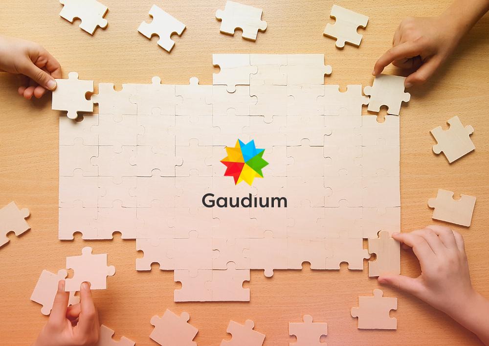 """Ilustração de quatros pessoas, cada uma com uma peça gigante de quebra-cabeça tentando encaixar. Ao lado está escrito """"Gaudium, Machine, Táxi Machine, Driver Machine, Moto Machine, Mr. Frete, afinal, como nós organizamos a hierarquia das marcas que compõe a Gaudium?"""""""