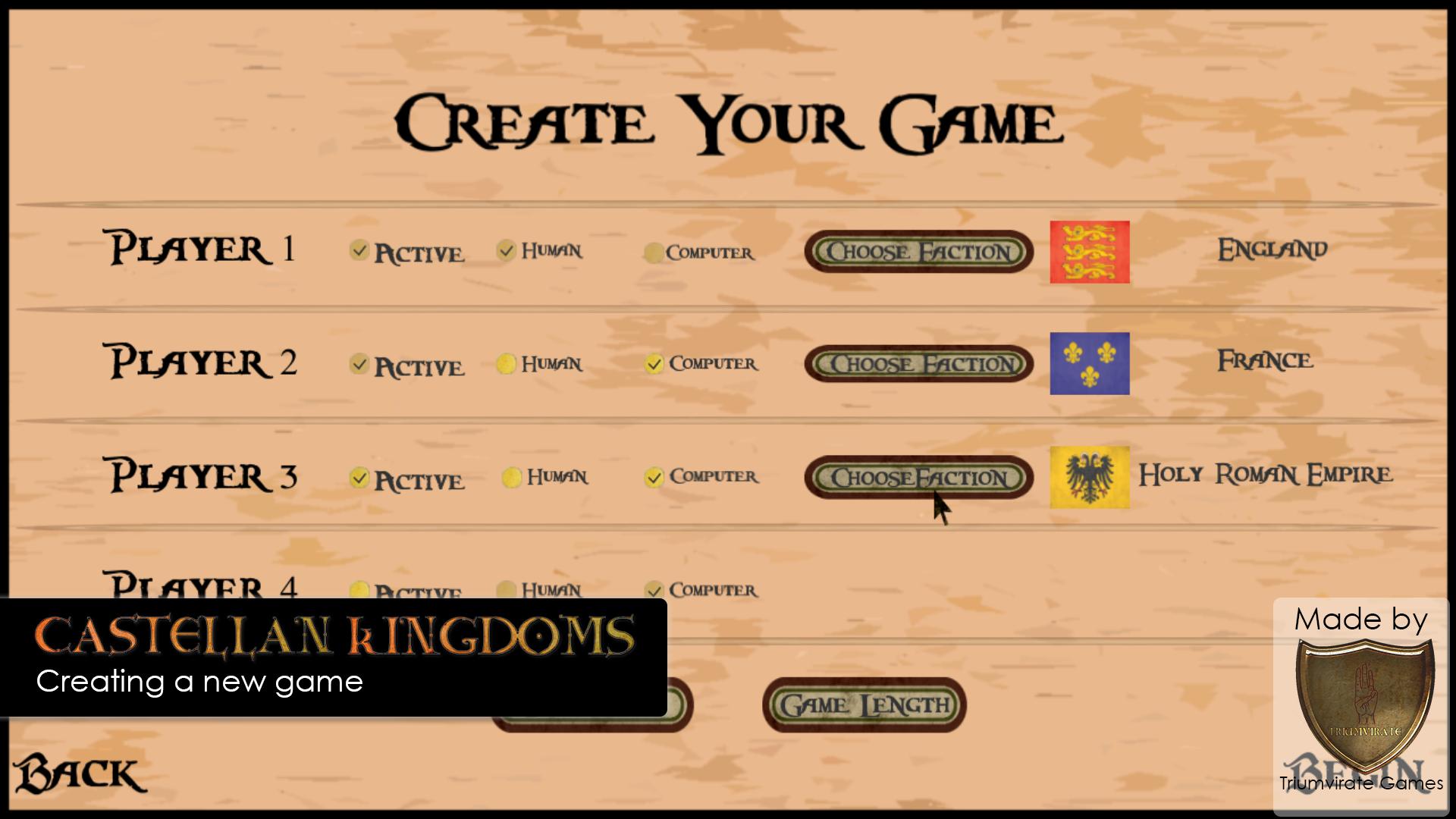 Castellan Kingdoms creating a game