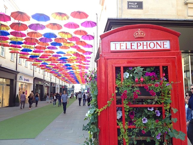 Telephone box planter in the City of Bath