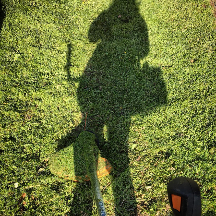 Strimming. Shadow selfie. Photo: LC