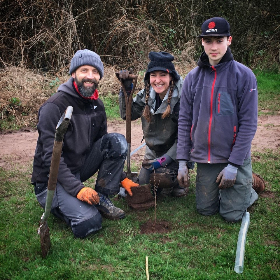 The Holland family planting trees in Nailsea