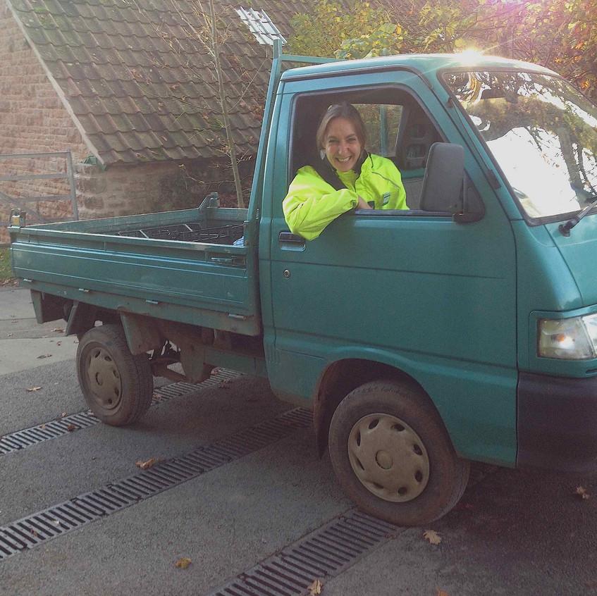 Debi driving the Piaggo