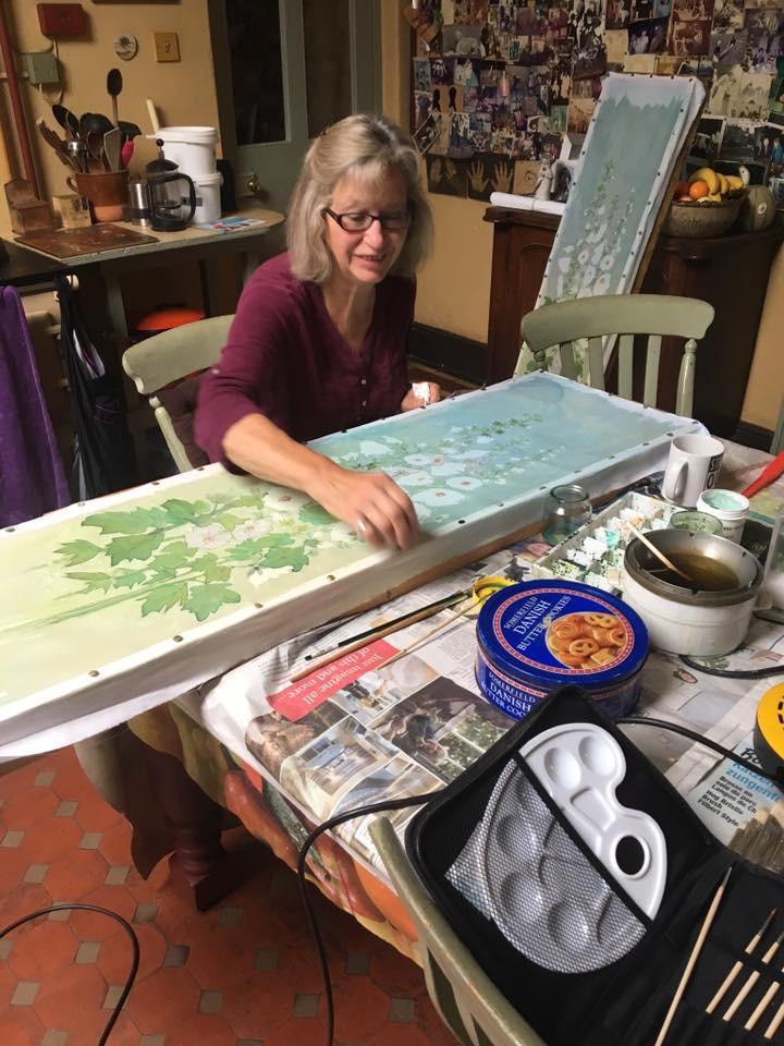 Conny working on her 'hollyhocks' batik. Photo: Violet Ridge