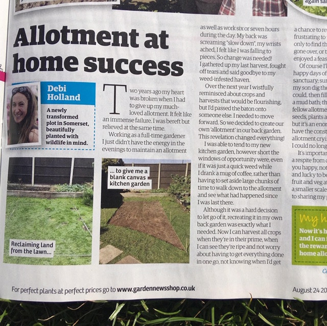 Allotment at home success in Garden news magazine