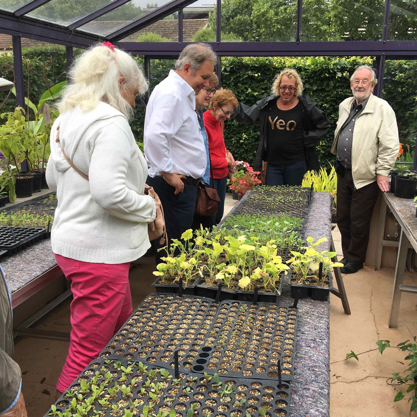 Andi discusses seedlings in glasshouse