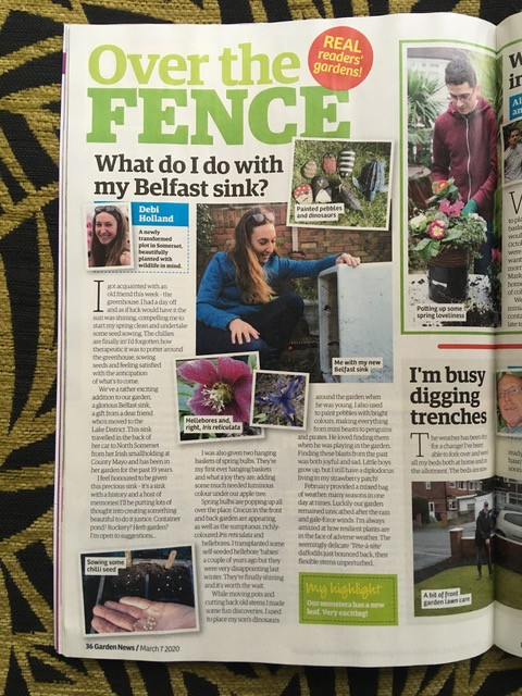 Full page Garden News magazine 'What do I do with my Belfast sink?'