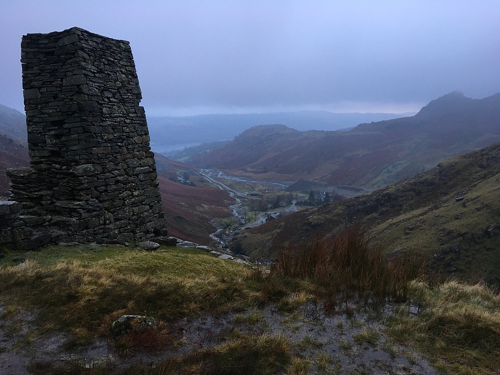 Disused water tower on Red Dell Valley overlooking Coniston water