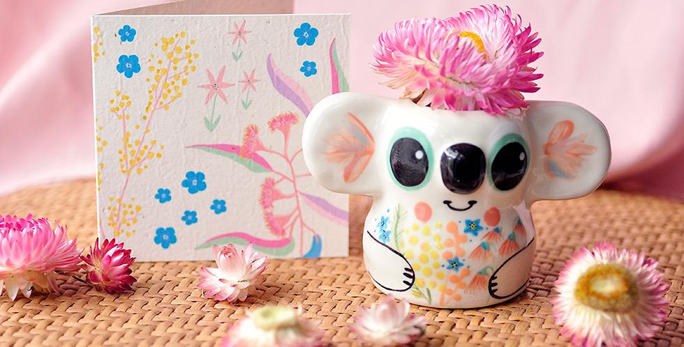 Koala Ceramic Posy Pot  (Medium) + Plantable Gift Card
