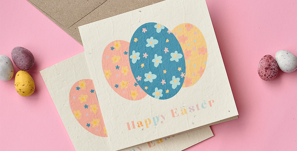 Easter Floral Eggs Plantable Card // Single