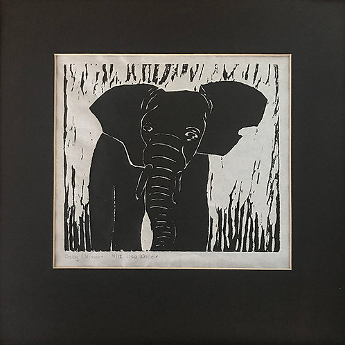 """Elephant--Matted 12""""x12"""""""