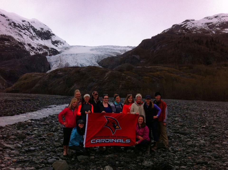 Group hikes at Exit Glacier in the Kenai Fjords National Park near Seward, Alaska
