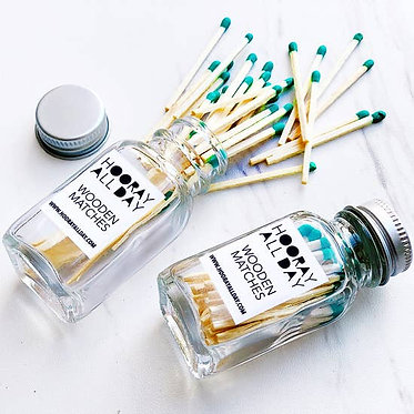 Colorful Wooden Matches In Little Glass Bottle Kelly Green