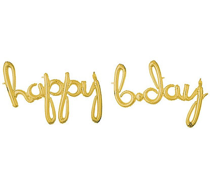 "76"" Happy Birthday phrase GOLD"