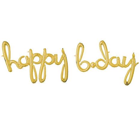 """76"""" Happy Birthday phrase GOLD"""