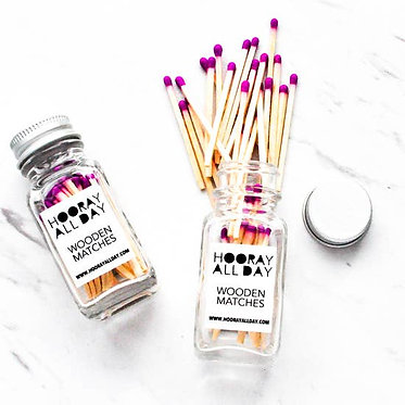 Colorful Wooden Matches In Little Glass Bottle Magenta