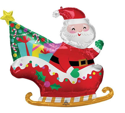 30in Santa in Sleigh Balloon - Christmas Balloon