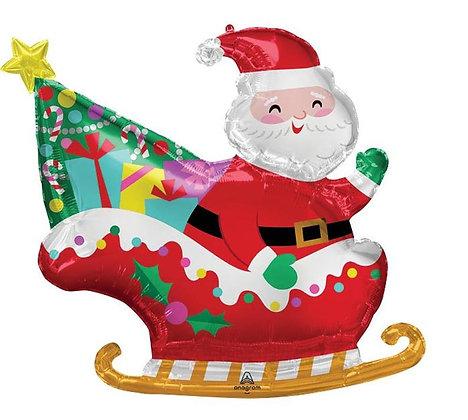 30in Santa in Sleigh Balloon - Christmas Balloon