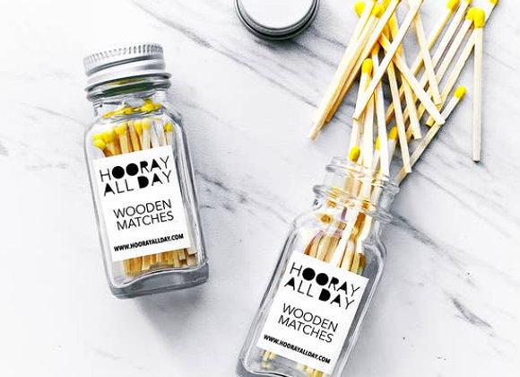 Colorful Wooden Matches In Little Glass Bottle Marigold