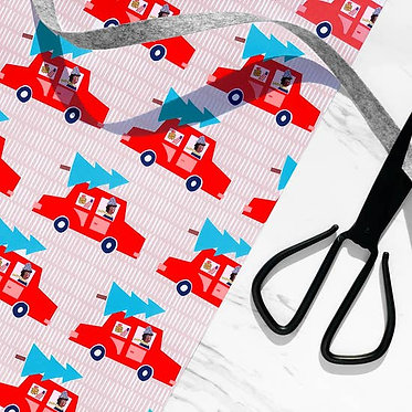 Christmas Cars Wrapping Paper Sheet