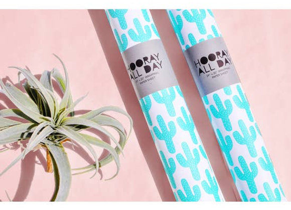 Green Cactus Wrapping Paper Sheet