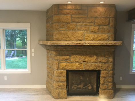 split veneer fireplace
